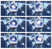 6 image of businessman holding on globe for each continent — Stock Photo