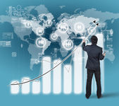 Businessman working on bar chart business strategy concept — Stock Photo