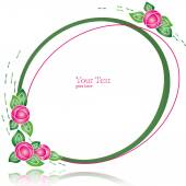 Oval Frame with Flowers (vector) — Vector de stock
