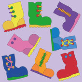Set of Vector Bright Gumboots — Stock Vector