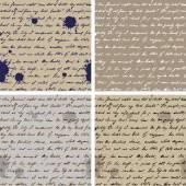 Oud papier met handgeschreven tekst naadloze achtergrond — Stockvector