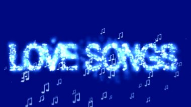 LOVE SONGS abstract  blue animation background. — Stock Video