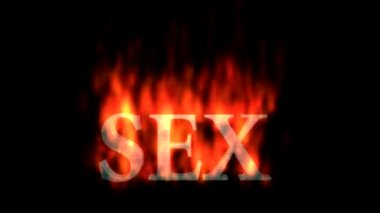 Text animation of the word SEX burning on fire.  A black and white luma matte (alpha channel) is included — ストックビデオ