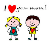 Kids drawing -  mother day greeting card — Stock Photo
