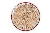 Wooden toothpicks arranged on a plate — Stockfoto