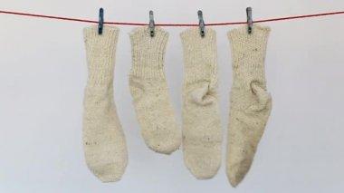 Handmade  wool socks hung to dry — Stok video