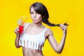 Girl drinks cocktail. — Stock Photo