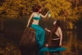 Fairytale woman with a lantern. — Stock Photo