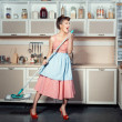 Woman sings and cleans the house. — Stock Photo #62551467