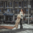 The girl with a toy bear in the city. — Stock Photo #66642169