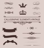 Vector Set of Calligraphic Design Elements and Page Decoration Dividers — Stock Vector