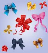 Best set of colorful gift bows with ribbons. Vector illustration. — Vector de stock