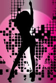 Vector girl dancing in night-club with flash — Stock Vector