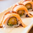 Raw fresh Salmon sushi roll maki - japanese food — Stock Photo #66114893