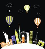 Hot air balloons over the world. — Stock Vector