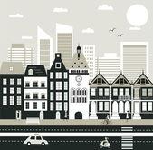 Stad straat — Stockvector