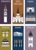 Villes célèbres. — Vecteur
