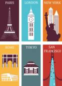 Famous cities. — Stock Vector