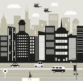 Helicopters over the New York city — Stock Vector