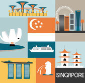 Symbols of Singapore city — Stockvector