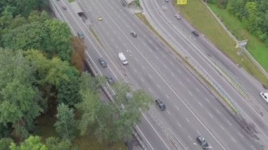 Aerial view of busy road junction — Stock Video