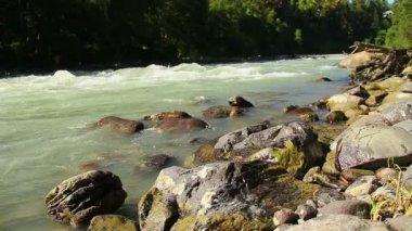 Rocks in powerful river rapids — Stock Video