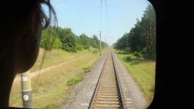 Woman looking through coach window — Stock Video