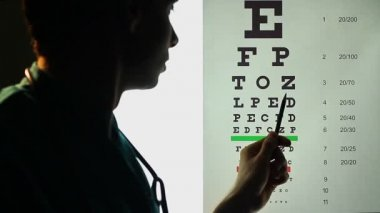 Ophthalmologist testing patient's eyesight — Wideo stockowe