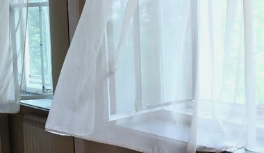 Wind blowing through  curtains — Stock Video