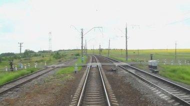 Looking at railway tracks through window — Stock Video