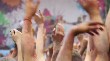Audience clapping hands at festival — Stock Video
