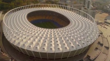 Aerial shot of large football (soccer) stadium — Stock Video