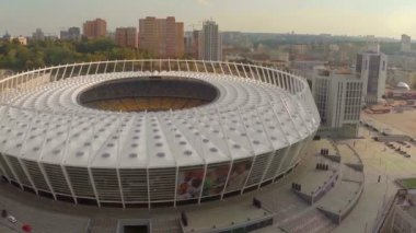 Aerial view of large modern stadium — Stock Video