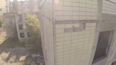 Aerial view wrecked abandoned building — Vídeo Stock