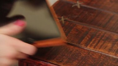 Hands taking tablet pc from table — Stock Video