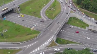 Busy road junction view from above — Stock Video