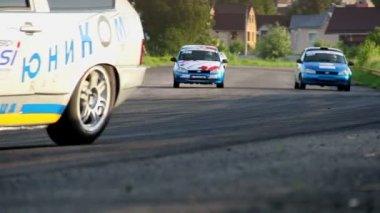 Racing autos taking during tournament — Vídeo de Stock