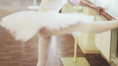Ballerina exercising at the barre — ストックビデオ