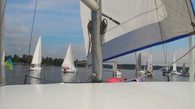 Navigating a racing yacht — Stock Video