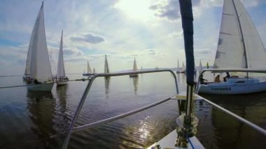Sailing yachts in open sea — Stock Video