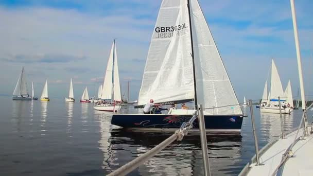 Racing yachts gathered in sea — Vídeo de stock
