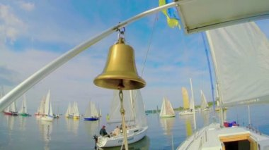 Nautical bell on sailboat — Stock Video