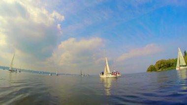 Sailing yachts on water — Stock Video
