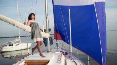 Female enjoying on yacht — Stock Video