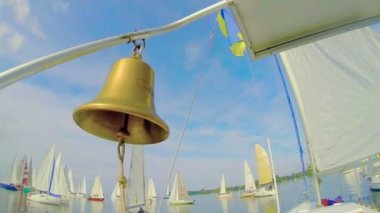 Bronze bell on yacht — Stock Video