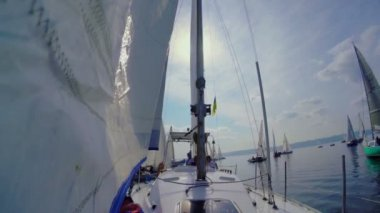 Yacht a vela in mare — Video Stock