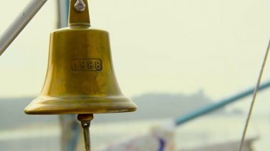 Ship bell with rope — Stock Video