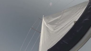 White sail in wind against sky — Stock Video