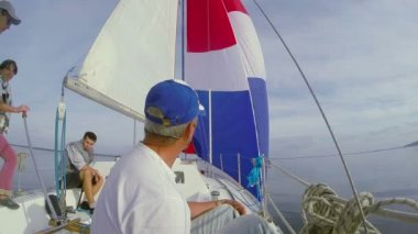 Yacht crew on deck — Stockvideo