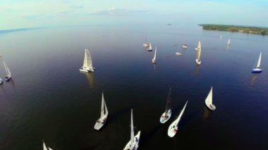 Yachts floating on water — Stock Video